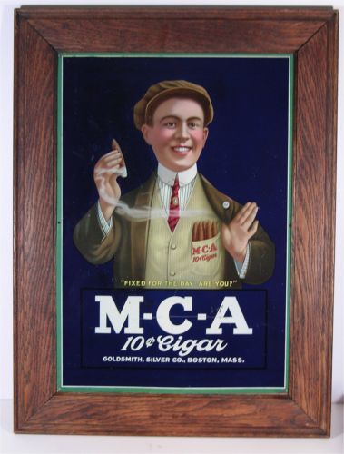 M-C-A Cigar Sign Lithograph, Goldsmith, Silver Co., Boston, MA. Ca. 1900