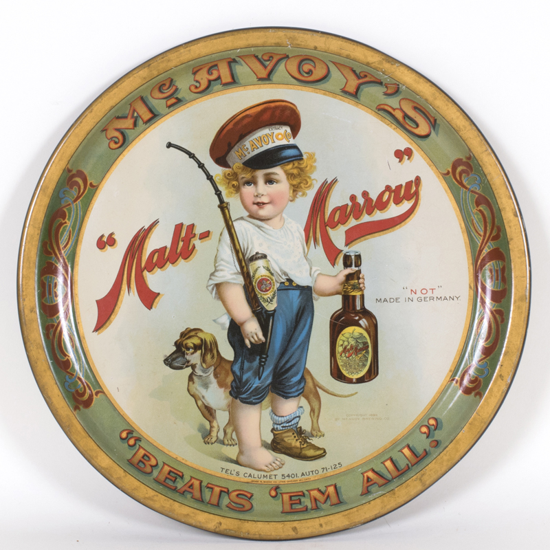 McAvoy Brewing Co, Chicago, IL Malt Marrow Serving Tray. Ca. 1910