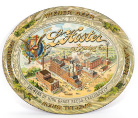 L. Hoster Brewing Company, Tin Pre-Prohibition Serving Tray, Columbus, OH. Ca. 1905