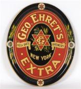 GEORGE EHRET'S HELL GATE BREWING CO. METAL SERVING TRAY, N.Y.C., Ca. 1915
