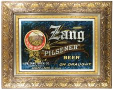 PHILLIP ZANG BREWING CO., PILSENER BEER REVERSE ON GLASS SIGN, DENVER, CO., Ca. 1900