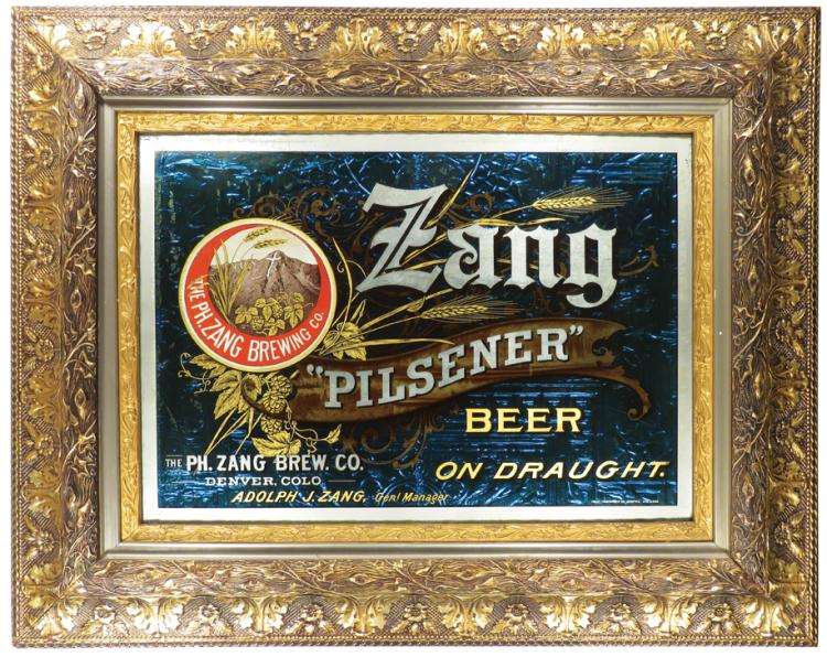 Phillip Zang Brewery Co., Denver, CO. Reverse on Glass Sign. Ca. 1900