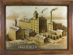 GENESSEE BREWERY CO. FACTORY SCENE, REVERSE ON GLASS SIGN, ROCHESTER, N.Y.  Ca. 1900