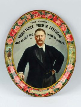 1905 Fred W. Peterson Serving Tray, Theodore Roosevelt, Minneapolis, MN