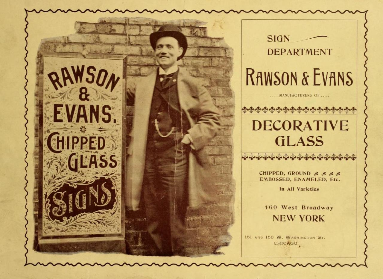 Rawson & Evans Chipped Glass Sign Company, Chicago, IL & New York City