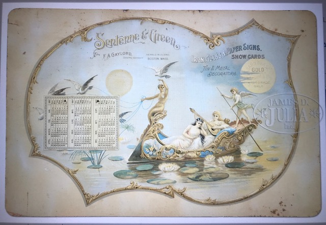 Sentenne and Green 1897 Tin Calendar Boston MA