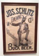 JOS. SCHLITZ BUCK BEER PRE-PROHIBITION LITHOGRAPH, MILWAUKEE, WI.  Ca. 1900