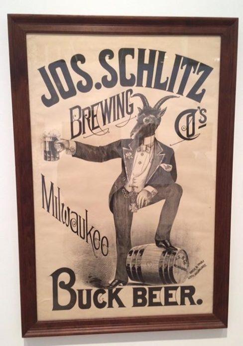 Jos. Schlitz Buck Beer Lithograph Poster, Milwaukee, WI. Ca. 1900