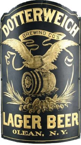 Dotterweich Brewing Co, Lager Beer Outdoor Corner Sign, Olean, N.Y. Circa 1895