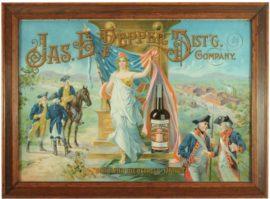 Jas. E. Pepper Distillery Whiskey Tin Sign, Louisville, KY. Ca. 1905