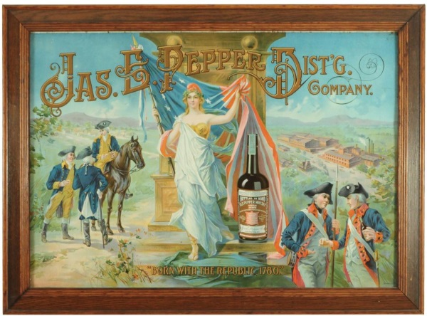 Jas. E. Pepper Distillery Whiskey Tin Sign, Louisville, KY. Ca. 1905