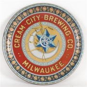 CREAM CITY BREWING COMPANY METAL SERVING TRAY, MILWAUKEE, WI.  Ca. 1910