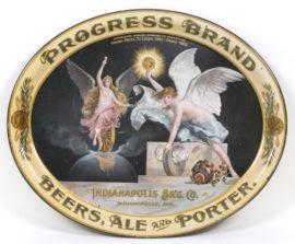 Indianapolis, IN Brewing Co Progress Brand Beer Ale Porter Pre-Pro Serving Tray. Ca. 1910