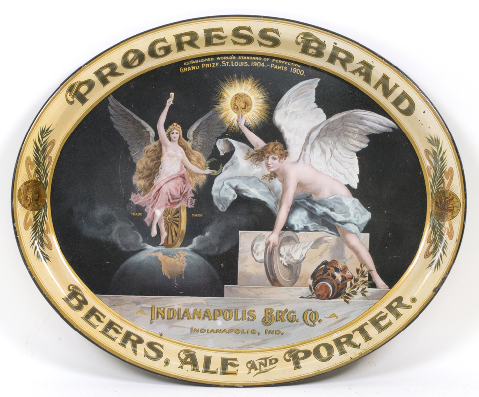 Indianapolis, IN Brewing Co Progress Brand Beer Ale Porter Pre-Pro Serving Tray. Ca. 1910