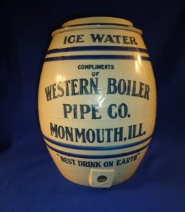 Western Boiler Pipe Co., Ice Cooler Stoneware Jug, Monmouth, IL. Circa 1900