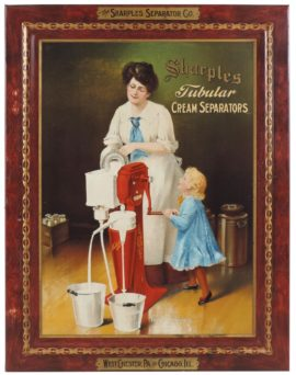 Sharples Tubular Cream Separator Self-Framed Tin Sign. West Chester, PA & Chicago, IL. Ca. 1905