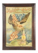 ABC LITHOGRAPHIC BEER SIGN WITH EAGLE FLYING OVERHEAD.  Ca. 1905