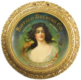 Buffalo Brewing Co., Bohemian Beer, Sacramento, CA. Charger with Gesso Frame. Circa 1900