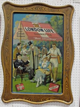 London Life Turkish Cigarettes Self Framed Tin Sign. Circa 1910
