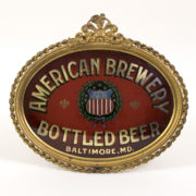 AMERICAN BREWERY CO, BOTTLED BEER, BALTIMORE, MD.  GESSO FRAMED ROG.  Ca. 1900