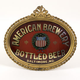 American Brewery Baltimore, MD. ROG Sign with gesso frame. Ca. 1900
