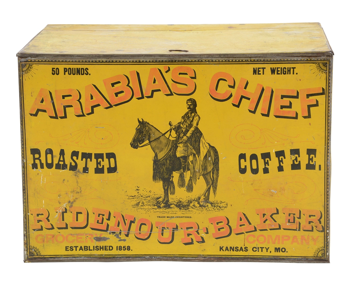Arabia's Chief Coffee Bin, Ridenour Bakery, Kansas City, MO. Ca. 1900