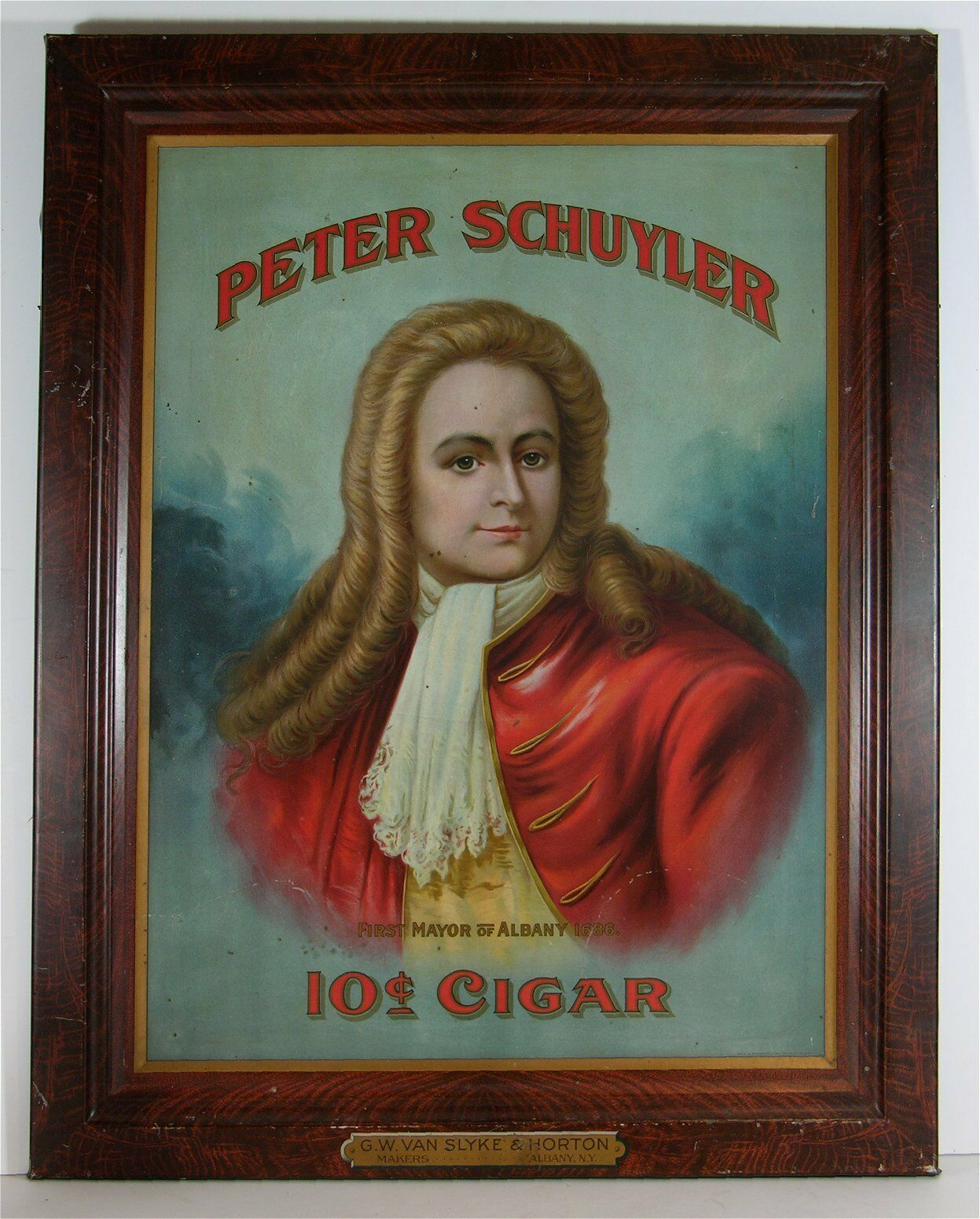 Peter Schuyler 10ct Cigar Self Framed Tin Sign, Albany, N.Y.