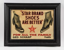 Star Brand Shoes Tin Sign, Geo. Schaaf Store, Franklin IL. Circa 1920