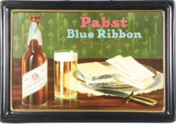 PABST BLUE RIBBON SELF-FRAMED TIN SIGN, MILWAUKEE, WI.  Circa 1935