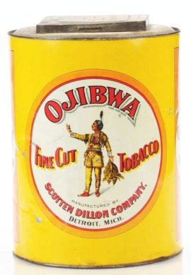 Ojibwa Chewing Tobacco Tin Store Display Container