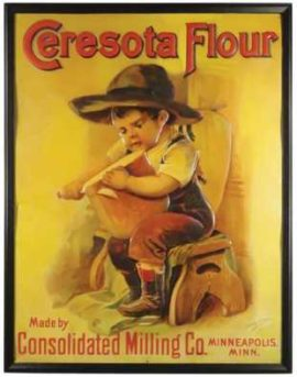 Ceresota Flour Tin Sign, Consolidated Milling Co., Minneapolis, MN. Ca. 1915