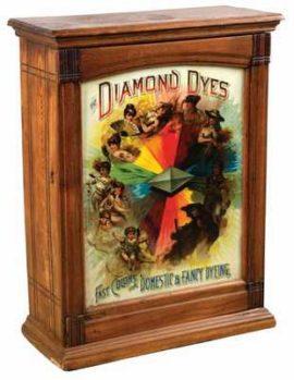 Diamond Dyes Wooden Dye Cabinet Display. Circa 1910