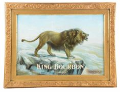 "KING BOURBON ""TWO KINGS"" TIN SIGN, MORRIN POWERS CO., K.C., MO.  Ca. 1895"