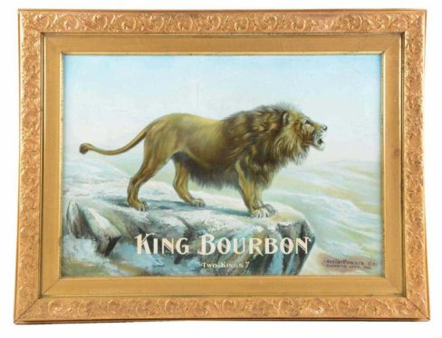 "King Bourbon ""Two Kings"" Tin Sign, Morrin-Powers Co., Kansas City, MO. Circa 1895"