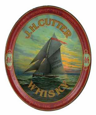 J. H. Cutter Whisky Tray, A.P Hotaling Co., San Francisco, CA. Circa 1910