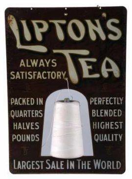 Lipton Tea Tin Sign String Holder, Circa 1910