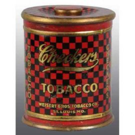 Checkers Tobacco Tin, Weisert Tobacco Co., St. Louis, MO. Circa 1930s