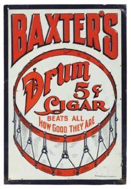 Baxter's Drum 5 Cent Cigar Tin Sign