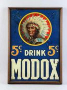 DRINK MODOX 5 CENT NERVE DRINK, TIN SIGN, PROVIDENCE, R.I.  Circa 1900