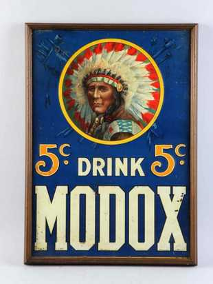 Drink Modox 5 cent Tin Sign, Nerve Drink, Providence, R.I.. Circa 1900