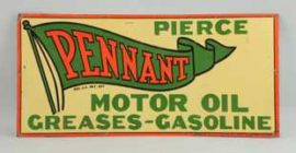 Pierce Pennant Motor Oil Tin Sign, St. Louis, MO. Circa 1925
