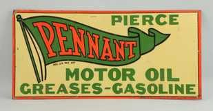 PENNANT MOTOR OIL TIN SIGN, PIERCE GAS CORPORATION, ST. LOUIS, MO.  Circa 1925