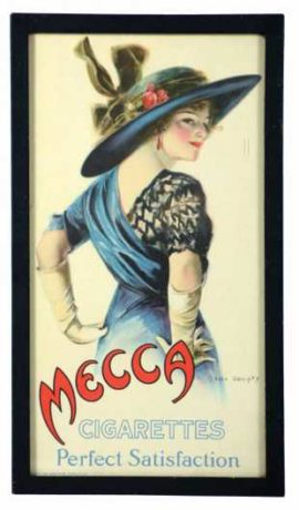 Mecca Cigarettes Perfect Satisfaction Lithograph, New York, N.Y. Circa 1910