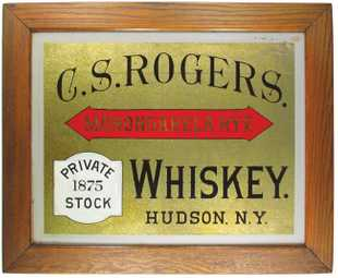 C. S. Rogers Whiskey ROG Sign, Hudson, N.Y. Circa 1900
