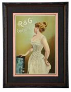 R&G Corset Factory Tin Sign.  Circa 1900