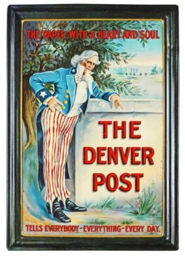 The Denver Post Self-Framed Tin Sign, Circa 1900