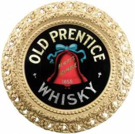 Old Prentice Whisky Reverse on Glass Gesso Framed Sign
