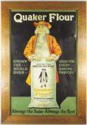 QUAKER FLOUR TIN SIGN, QUAKER OATS CO., CANADA.  Ca. 1920