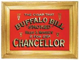 Chancellor Cigar Sign, Niles and Moser Manufacturers, Denver, CO. Ca. 1900