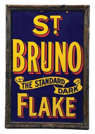 St. Bruno Standard Dark Flake Tobacco Sign, Richmond, VA. Ca. 1920